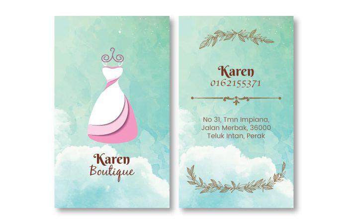 de owl, business card, Karen Boutique