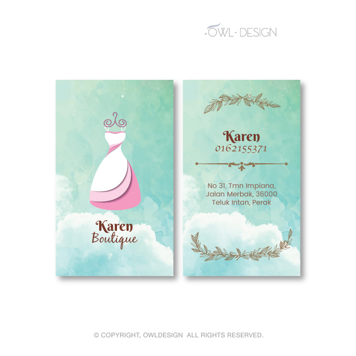 de owl, business card, Karen Boutique