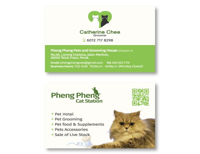 de owl, business card, Pheng Pheng Cats